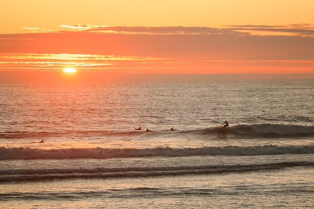 surfer surfing a wave while sun goes down